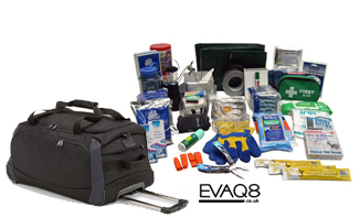 Mobile Natural Disaster Survival Kit / Go Bag | Emergency Preparedness supplies in the event of a major incident or disaster | Go Bag from EVAQ8.co.uk the UK's Emergency Prepardness specialist