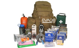 Deluxe GoBag® Standard Emergency Kit | Emergency Preparedness supplies to support two persons for 72 hours | Go Bag from EVAQ8.co.uk the UK's Emergency Prepardness specialist